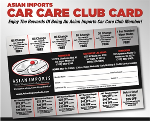 Asian Imports Car Care Club Card